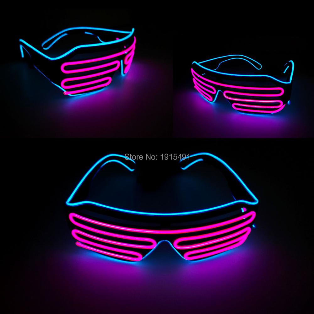 2019 Popular Two Color Bicolor EL Shutter Glasses LED Neon Glasses With DC3V EL Converter For Bachelor Party,Novelty Lighting