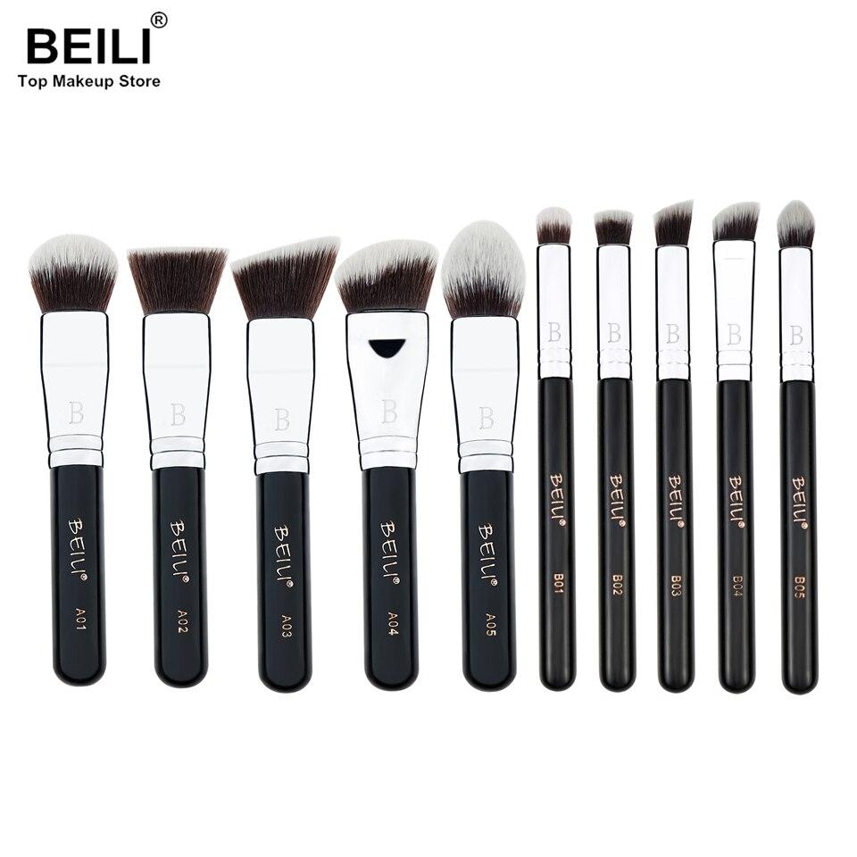 BEILI 10pcs Kabuki face foundation Powder Blusher Eye Concealer Synthetic Makeup Brushes Set