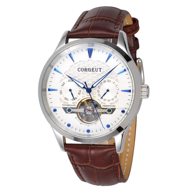 Corgeut 44mm Little Domed Glass white case White Dial Date&Day clock leather strap Mens water resistant Automatic Wristwatches corgeut 44mm wristwatches rose gold case white dial coffee leather strap hand winding 6498 water resistant men watches cm2005b