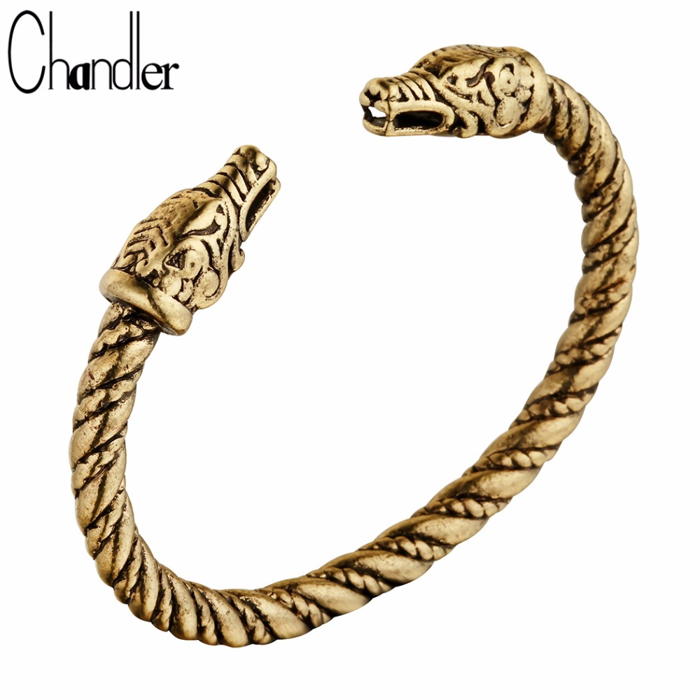 Chandler 2017 Handmade Top Quality Pagan Viking Dragon Bracelets Bangles For Man and Women Cuff Bangle Gifts Chunky Open Pulsera
