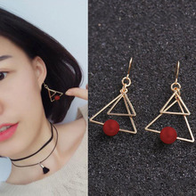 Fashion Double Geometric Triangle Drop Earrings Simple Red for Women Pierced Charm