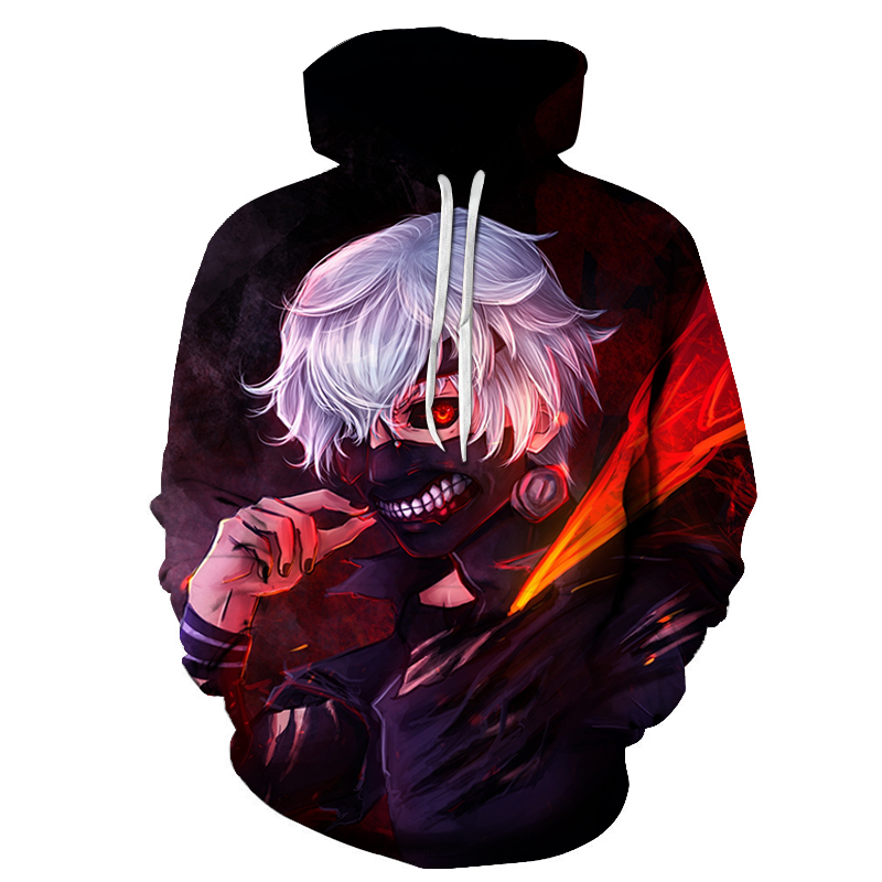 Tokyo Ghoul 3D Hoodie Men 2019 New Hot Design Mens Hoodies Funny Hip Hop Sweatshirts Fashion Men Women Anime Streetwear Clothes