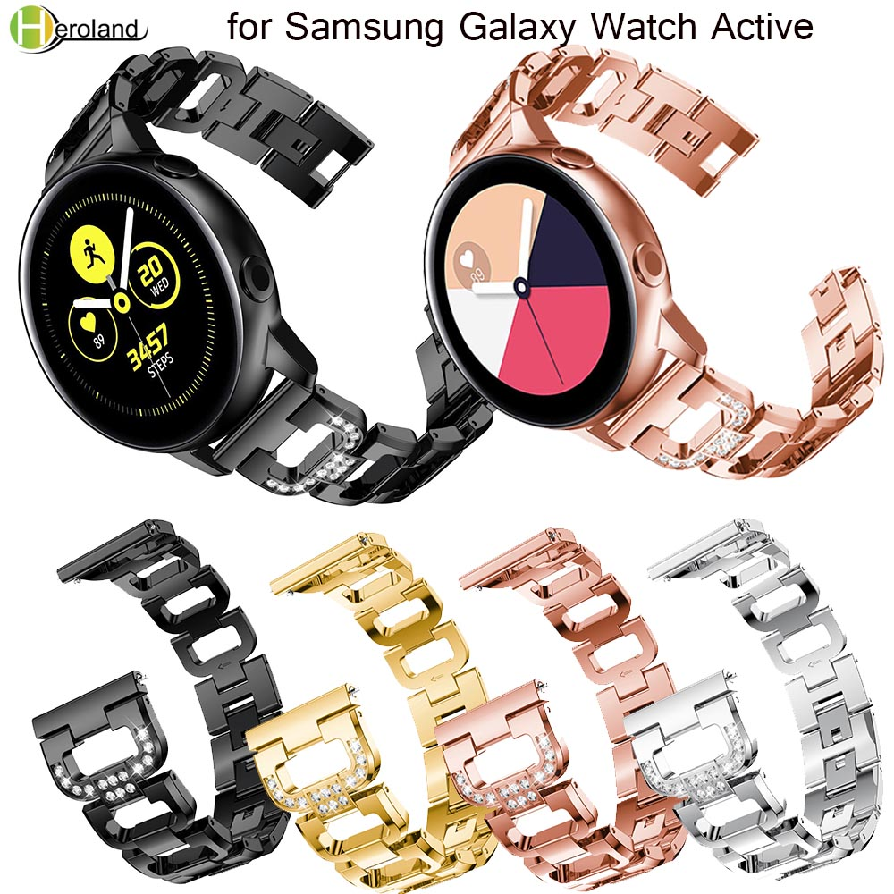 20mm Strap For Samsung Galaxy Watch Active 40mm/galaxy Watch 42mm/Gear S2 Stainless Steel Replacement Crystal Women Wristband