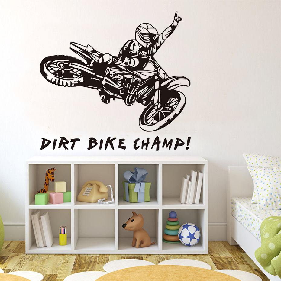 Funny Quotes Dirt Bike Champ Motorcycle Rider Wall Stickers Creative