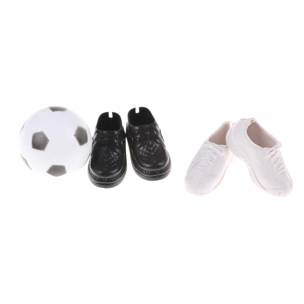 2 Pairs fashion Shoes+1 Football Fashion Boots High Quality Baby Toy Doll Shoes For Ken Dolls Accessories