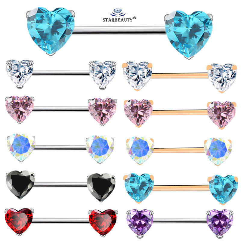 Starbeauty 2 Pcs/lot Hot Jantung Puting Cincin Biru Kristal Tindik Puting Cincin Wanita Puting Perhiasan Helix Pircing Anting-Anting