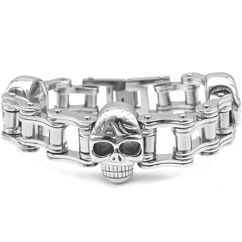 CHINDOU Cool Men's 316L Stainless Steel Skull Bracelet Heavy Big Skeleton Fashion Punk Rock Bike Chain Bracelets Man Jewelry trustylan cool stainless steel dragon grain bracelets men new arrival punk rock keel mens bracelets
