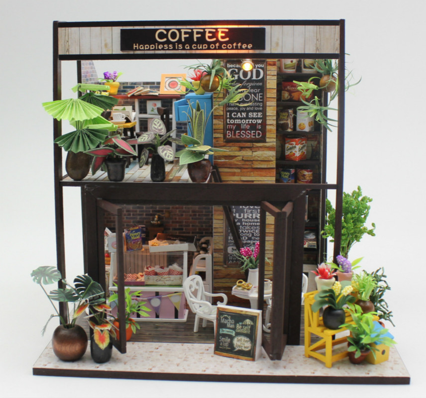 DIY cottage assemble model wholesale time travel Cafe without dustproof cover birthday gift