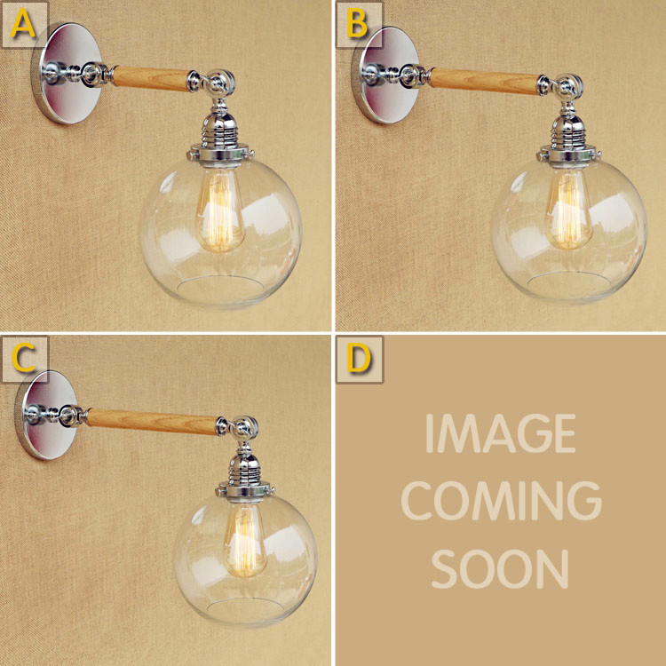 Glass Ball Wooden Swing Long Arm Vintage Wall Lamp LED Wandlampen Rustic Style Loft Industrial Wall Light Fixtures Lampara Pared long swing arm retro vintage wall light fixtures edison rustic loft style industrial lamp wall sconce wandlampen lampara pared
