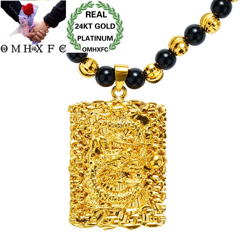 MHXFC Wholesale European Fashion Man Male Party Wedding Gift Vintage Dragon Rectangle Real 18KT Gold Pendant Necklace NL167MHXFC Wholesale European Fashion Man Male Party Wedding Gift Vintage Dragon Rectangle Real 18KT Gold Pendant Necklace NL167