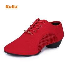8df9844f05 Preto/Tecido Pano Vermelho Mulheres Tênis Sapatos de Dança Jazz Moderno Sapatos  de Dança Latina