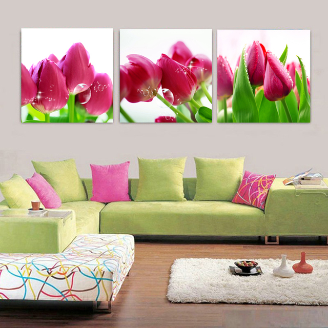 Modern wall art prints pink tulips canvas prints cheap home decor wall pictures canvas art for