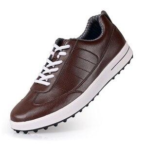 Image 1 - Golf Shoes Men Sport Shoes PGM Top Grain Leather Waterproof Male Golf Sneaker Rubber Bottom Anti slip Shockproof Male Shoes