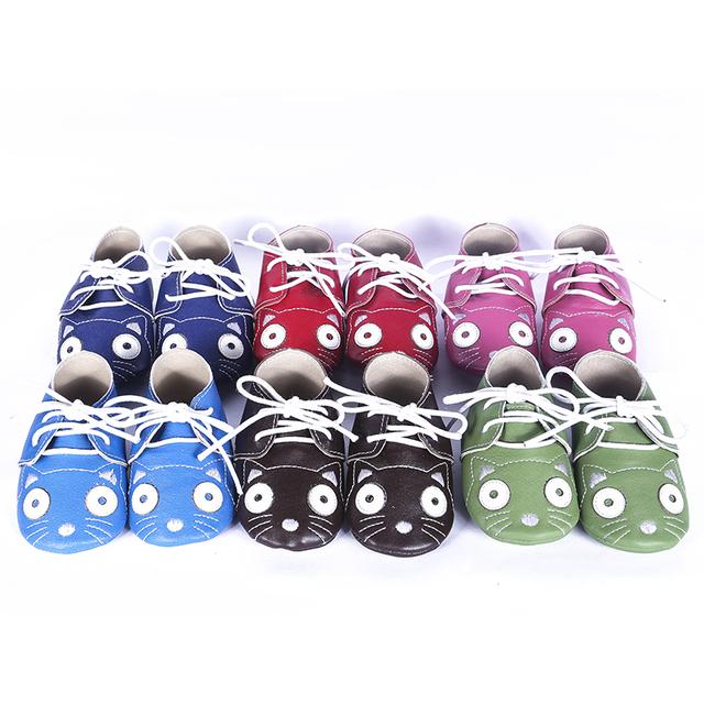 Couro genuíno Lace-up Mocassins Bebê Sapatos Chaussure Bebê recém-nascido Dos Desenhos Animados Do Bebê das meninas dos meninos sapatos de Camurça Primeiros Caminhantes
