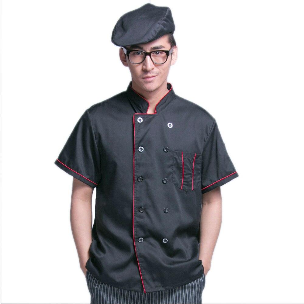 New Kitchen Black Chef Jacket Uniforms Short Sleeve Hotel