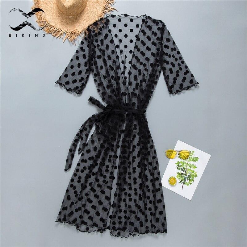 Bikinx Malha encobrir saida de praia Rosa dot swimsuit cover-ups Kimono moda praia verão mulheres Long beach 2019 vestido de túnica