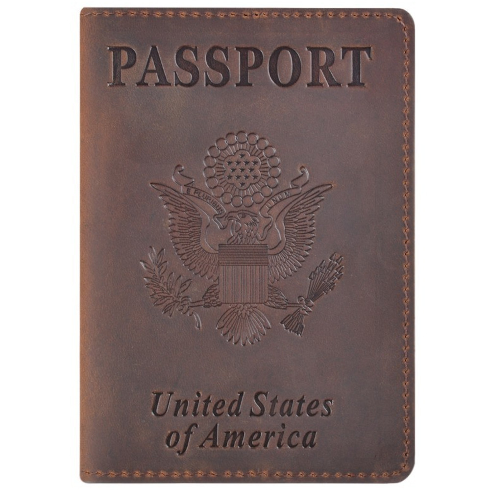Genuine Leather Passport Cover for United States of America Solid Credit Card Holder Business Passport Case Unisex Travel Wallet book of america – inside fifty states today