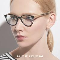 Acetate Optical Glasses Frame Women Men Ultralight Round Prescription Eyeglasses B Titanium Myopia Screwless Eyewear