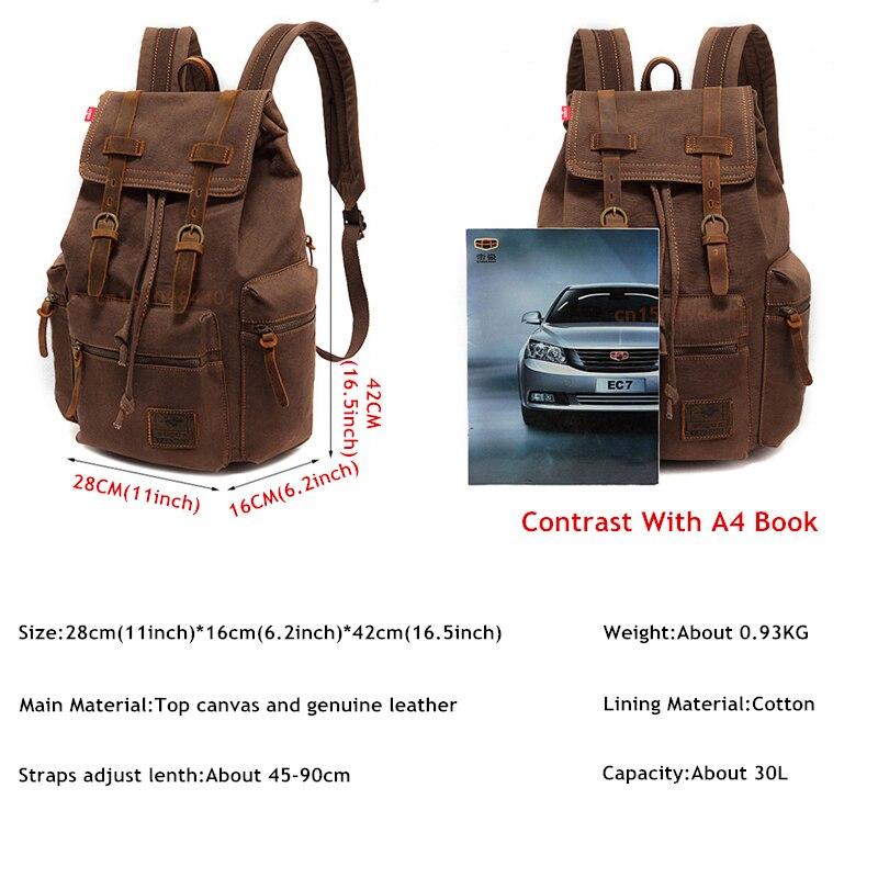 Nouveau sac à dos de mode homme vintage toile sac d'école voyage s grande capacité ordinateur portable