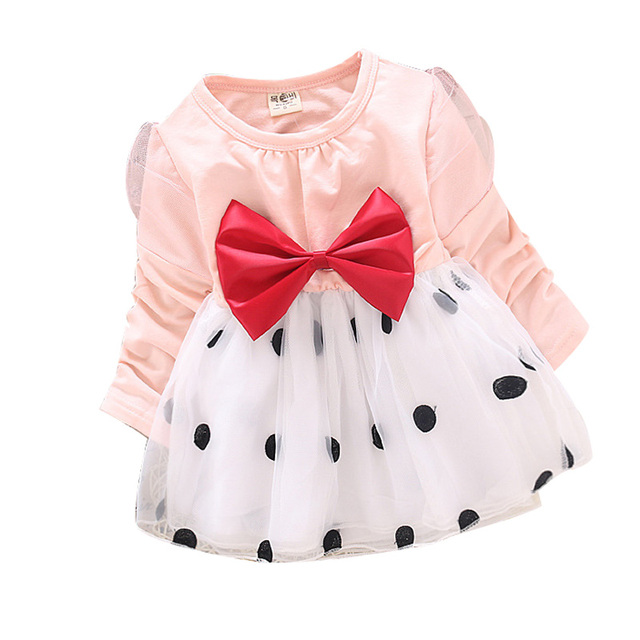 2015 spring&autumn new 1piece Korean bowknot girls long-sleeved cotton flower sarong Recommend 7-24 months baby girls dress