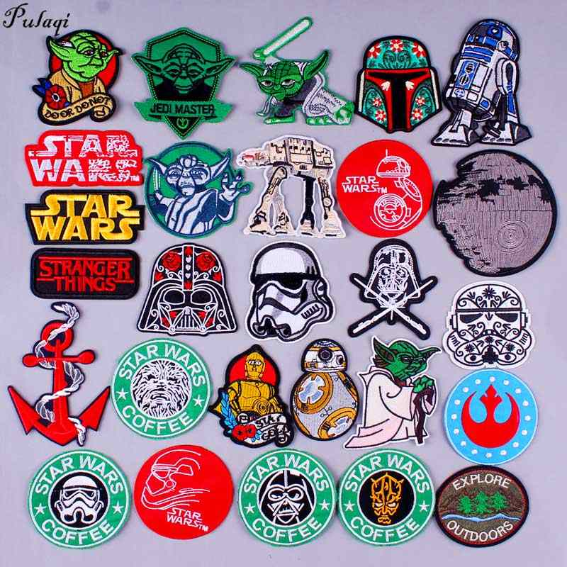 Pulaqi Star Wars Patch Iron On Patches For Clothing Embroidery Patches On Clothes Punk Style Stickers DIY Appliques Stripes H