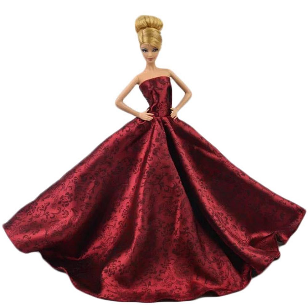 LeadingStar Super luxurious Red Princess Party dress for Barbie Doll Wedding Gown Accessories for Barbie dolls Baby Gift hatber optimum barbie the pearl princess 20627