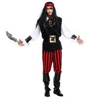 Costumi di Halloween per Gli Uomini Caraibi Capitano Costume Da Pirata Deluxe Banda Adulti Fantasia Costumi Cosplay Abbigliamento Plus Size