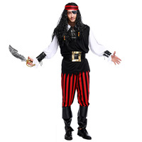 Trajes de Halloween para Homens Caribe Capitão Traje Do Pirata de Luxo Stripe Adulto Fantasia Trajes Cosplay Roupas Plus Size