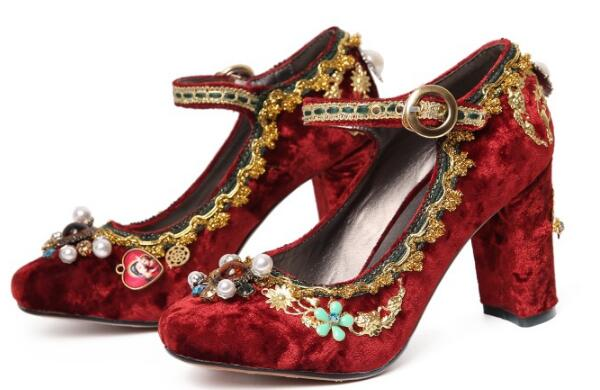 De Wine Cheville Laides Zapatos Mariée Femmes Boucle Mujer Des C161662 Mariage red Red Haute Femme Parti Chaussures Talons Fasion Chunky Pompes qFFPwRx