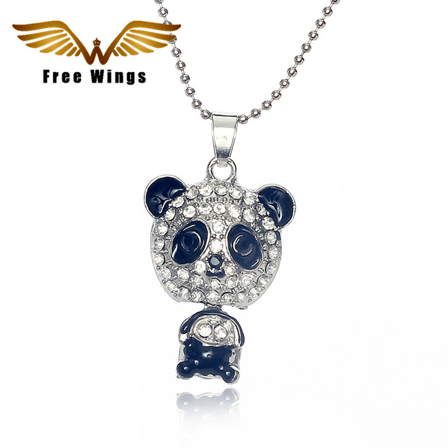 2016  Fashion Full Of Crystals Panda Pendants Necklaces For Women Jewelry Collares  Charm N012 B3.7