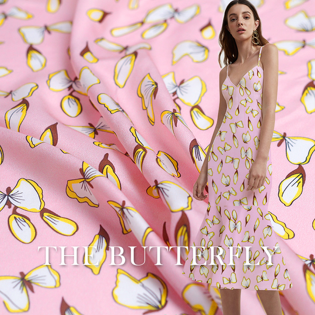 Pearlsilk 12momme pink butterfly printed crepe de chine silk 100%mulberry silk summer dress DIY clothes fabrics Freeshipping