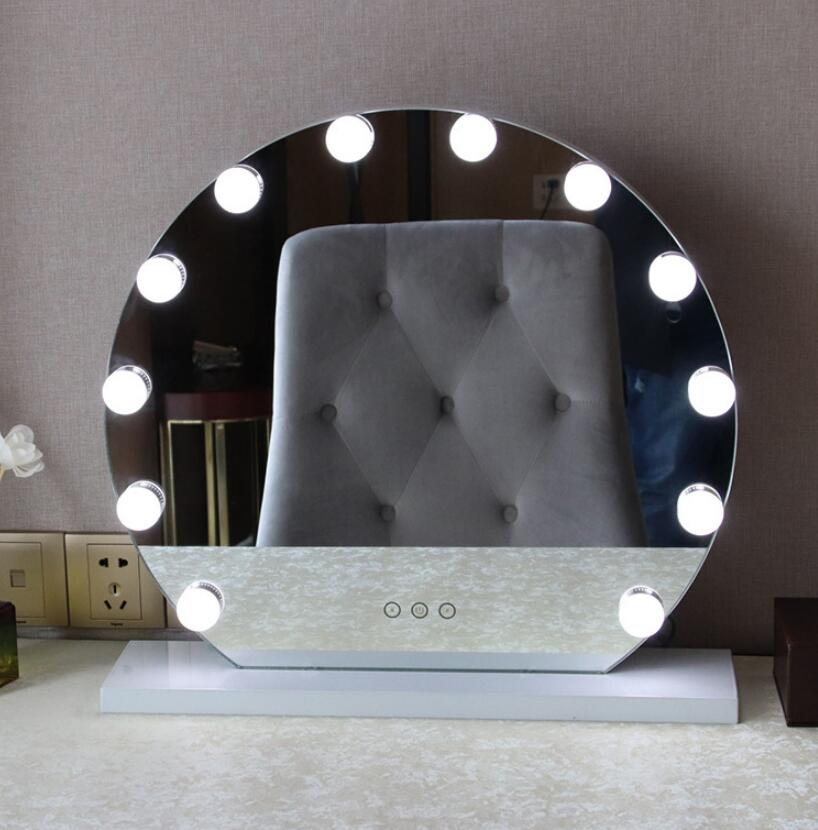 New Frameless Vanity Mirror with Light Hollywood Makeup Lighted Mirror 3 color Light Cosmetic Mirror Adjustable Touch Screen dimmable hollywood makeup vanity mirror with light large lighted tabletop cosmetic mirror with 9pcs touch control led bulbs