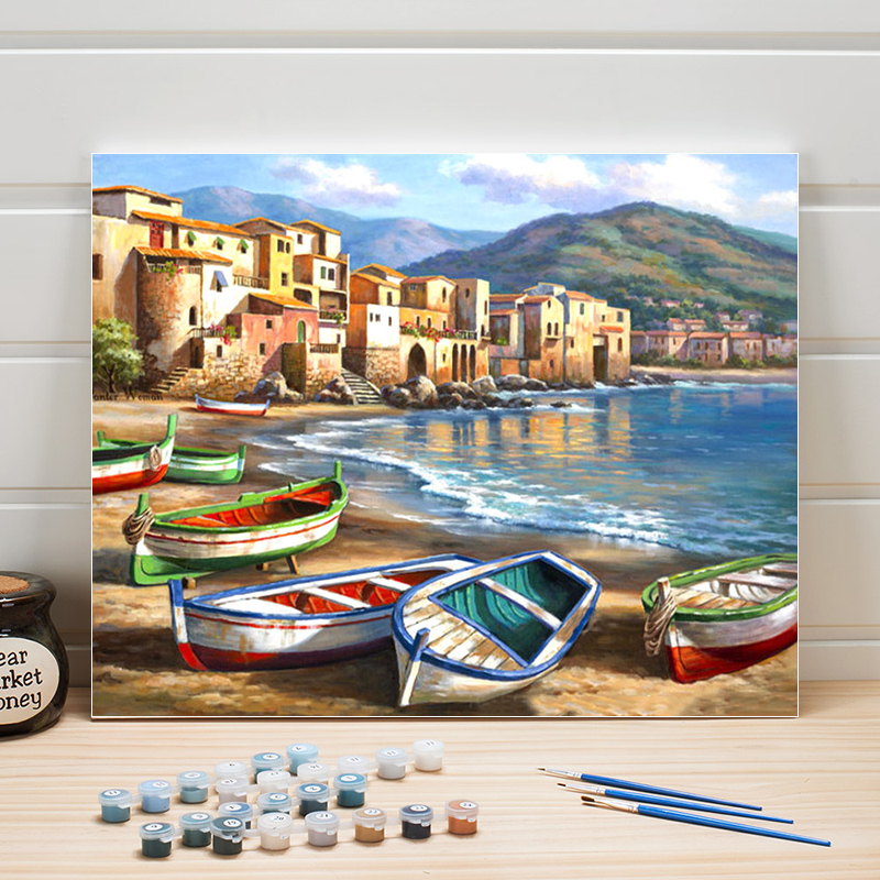 Landscape Town Drawing By Number 40x50cm Paints Acrylics Canvas Painting Numbers Walls Pictures For Living Room Decor One Piece