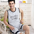 Men's Pajama Sets Cotton sleeveless Vest Letter Sleeping pullover Men Pajamas Sets