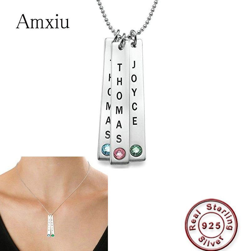 Amxiu Real 925 Silver Bar Necklace Engrave Three Names with Birthstones Pendant Necklace For Family Mother Friends Special Gift