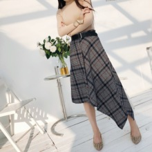 2018 Autumn And Winter New Fashion Vintage Plaid A-Line Skirt Women High Waist All-Match Cotton Mid-Calf Female Skirts