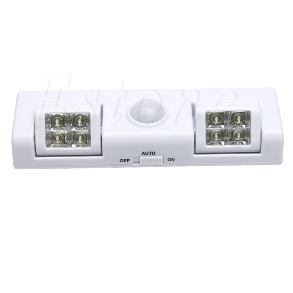 16cm x 5cm x 2.5cm 8 LED Cabinet Light Auto PIR Motion Sensor Kitchen Wardrobe Cupboard Closet Lamp HOT D18458