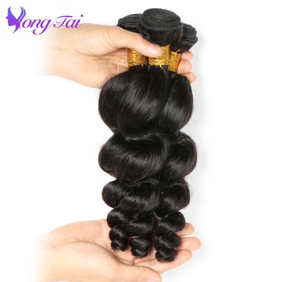 Yuyongtai Hair Extensions Mongolian Loose Wave Bundles 3Pcs Lot 100 Remy Human Hair Weaves With Natural