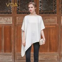 VOA 2018 мода лето кремового цвета свободные Повседневное шелковая футболка Рубашка с короткими рукавами краткое сплошной нерегулярные Для же