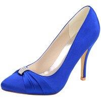 LOSLANDIFEN Women Rhinestone Pumps 10CM High Heels Pointed Toe Bridal Shoes Office Lady Royal Blue Satin Silk Wedding Shoes