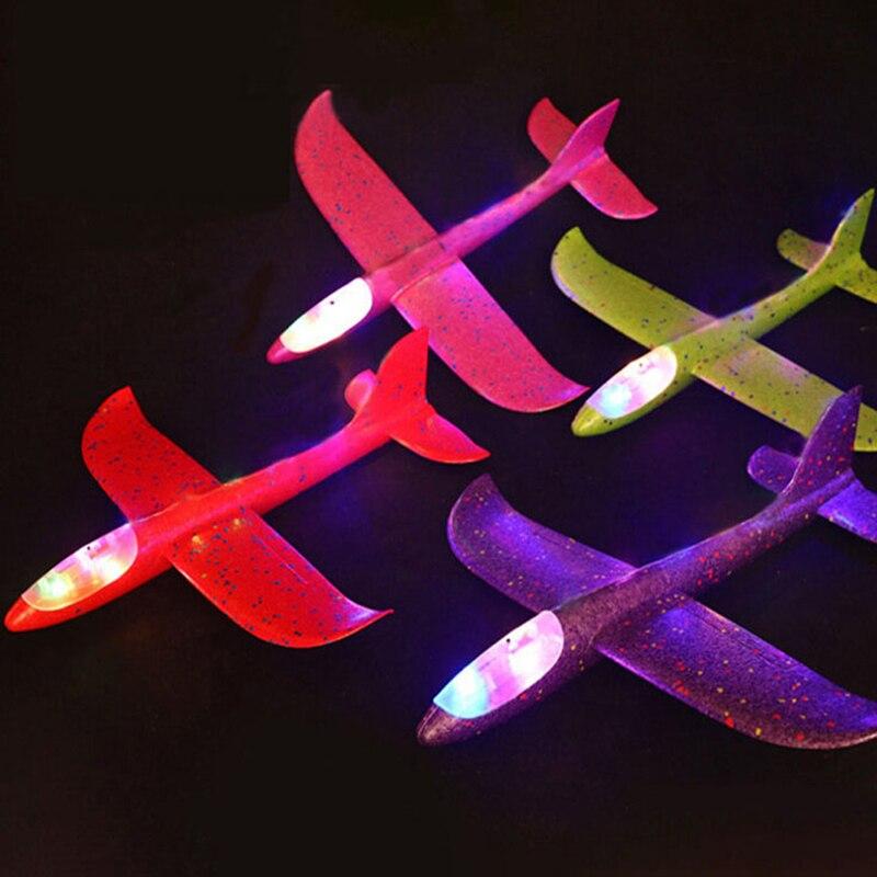 48cm Aircraft Hand Throw Flying Glider Foam Plane LED Light-up Luminous Toys for Children DIY Airplane Model Kids Boys Gift