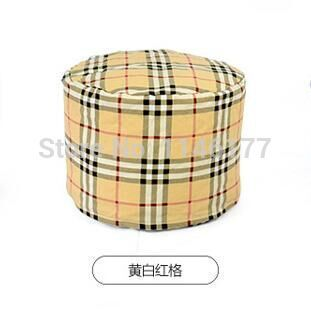 Ywxuege lazy fabric sofa stool yellow grid style Home Office circular seating stool washable canvas newspaper