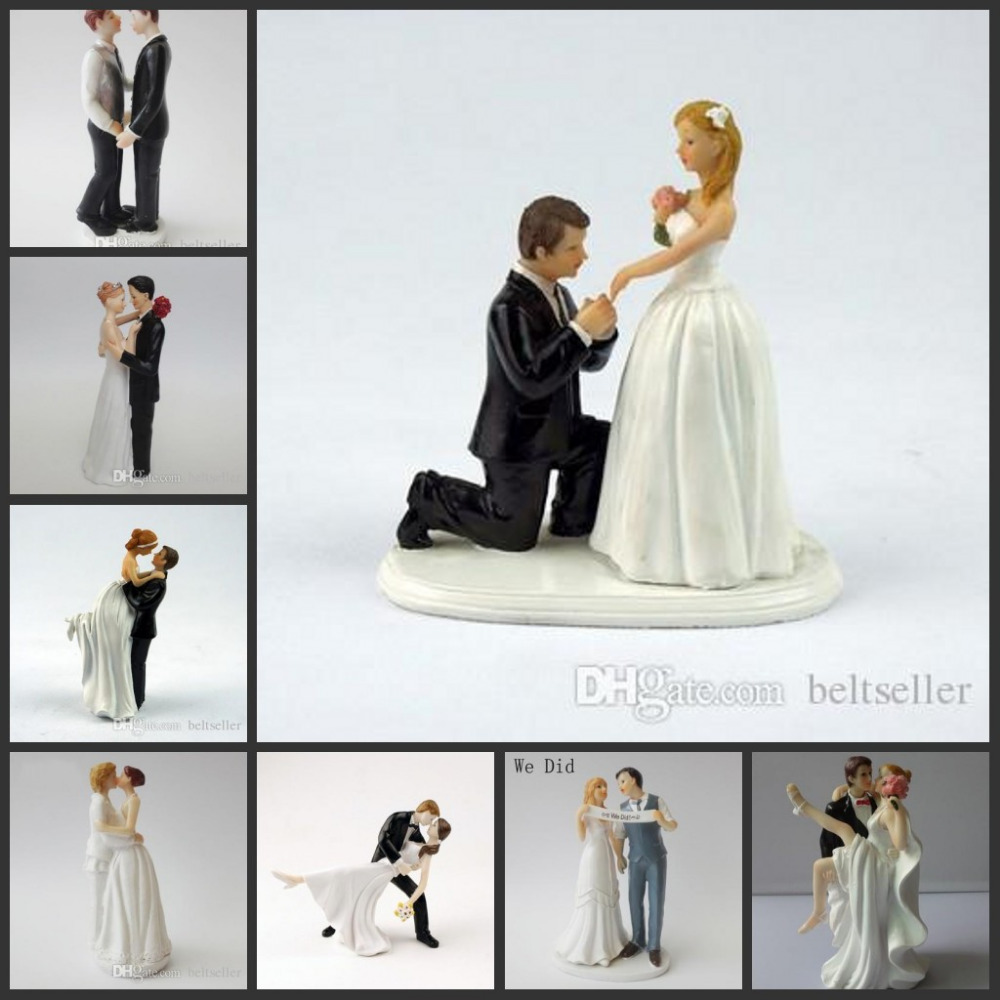 Happy Princess Embrace Bride And Groom Wedding Cake Topper ...