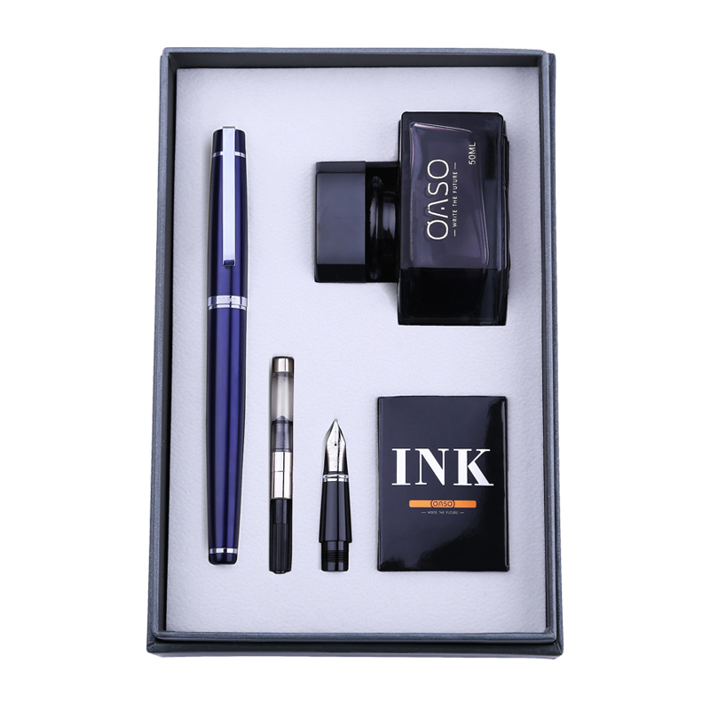 Free Engraved Text Double Nib Fountain Pen Ink Set OASO Business Office Financial Pens High-end Christmas Gift Set for FriendFree Engraved Text Double Nib Fountain Pen Ink Set OASO Business Office Financial Pens High-end Christmas Gift Set for Friend