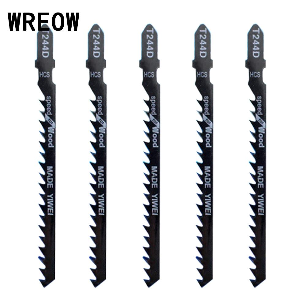 WREOW 5pcs High Carbon Steel Jig Saw Blades PVC Fibreboard Reciprocating Saw Blade Power Tools For Clean Cutting Wood T244D 74mm