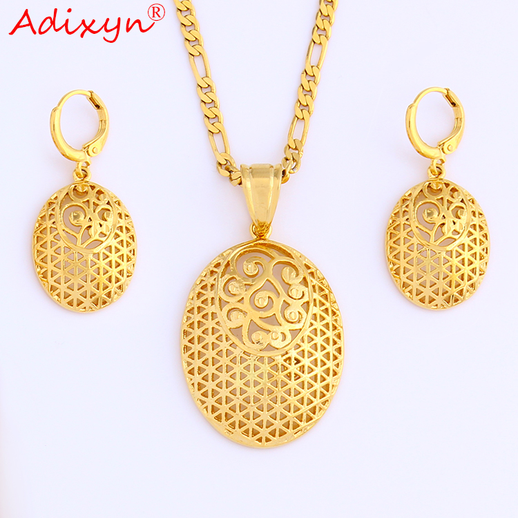 Adixyn Jewelry-Set Earrings Pendant Necklace Fashion Women Ladies Gold-Color for N08238