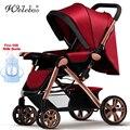 Ultra-Leve Carrinho de Bebê Dobrável Portátil Four-Wheel Transporte Infantil Verão Grande Tamanho Médio Carrinho De Bebê Dormindo Cesta de Alumínio