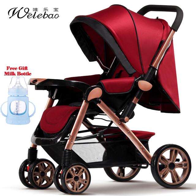 Ultra-Ligero Cochecito de Bebé Portátil Plegable Carro de Cuatro Ruedas Infantil de Verano Gran Canasta de Dormir de Tamaño Mediano Cochecito De Aluminio