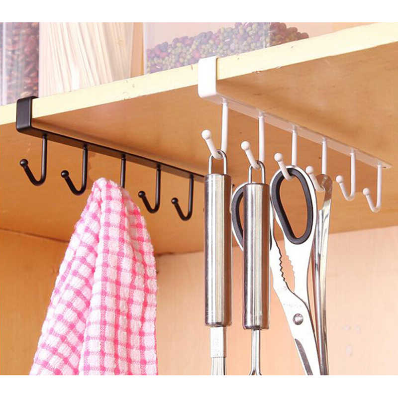 Seamless Kitchen Storage Rack Home Cupboard Shelf Hanging Hook Organizer Closet Clothes Glass Mug Shelf Hanger Wardrobe Holder