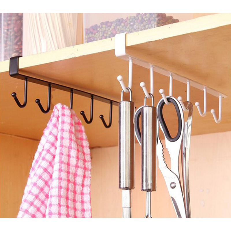 Seamless Kitchen Storage Rack Home Cupboard Shelf Hanging Hook Organizer Closet Clothes Glass Mug Shelf Hanger Wardrobe Holder